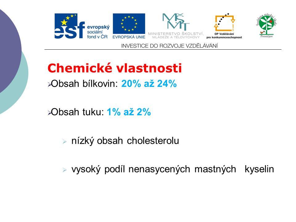 Chemické vlastnosti  Obsah bílkovin: 20% až 24%  Obsah tuku: 1% až 2%  nízký obsah cholesterolu  vysoký podíl nenasycených mastných kyselin
