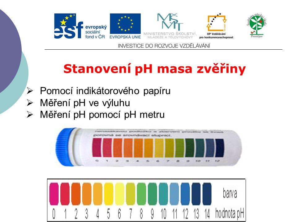 Slide 2…atd Stanovení pH masa zvěřiny  Pomocí indikátorového papíru  Měření pH ve výluhu  Měření pH pomocí pH metru