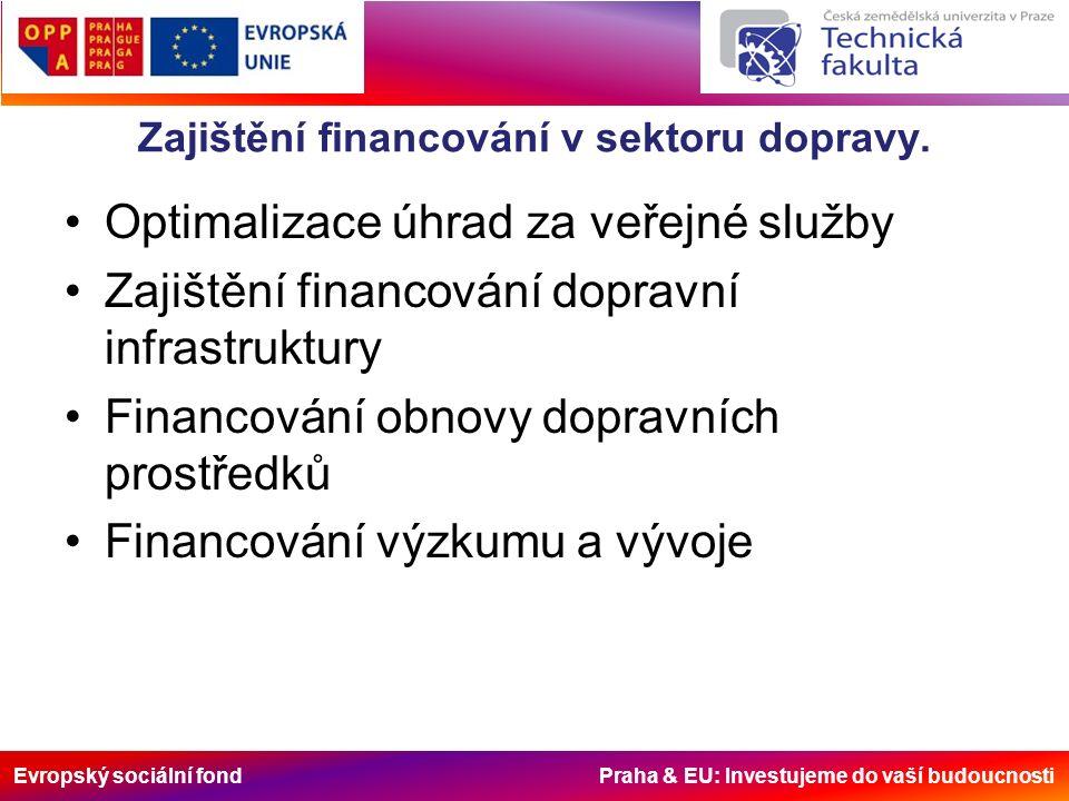 Evropský sociální fond Praha & EU: Investujeme do vaší budoucnosti Zajištění financování v sektoru dopravy.