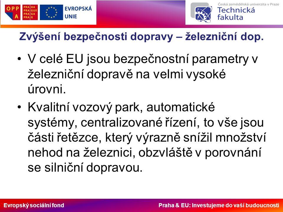 Evropský sociální fond Praha & EU: Investujeme do vaší budoucnosti Zvýšení bezpečnosti dopravy – železniční dop.