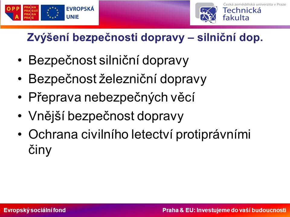 Evropský sociální fond Praha & EU: Investujeme do vaší budoucnosti Zvýšení bezpečnosti dopravy – silniční dop.