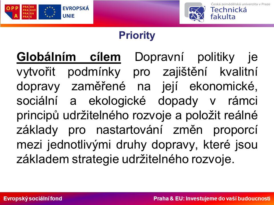 Evropský sociální fond Praha & EU: Investujeme do vaší budoucnosti Priority Globálním cílem Dopravní politiky je vytvořit podmínky pro zajištění kvalitní dopravy zaměřené na její ekonomické, sociální a ekologické dopady v rámci principů udržitelného rozvoje a položit reálné základy pro nastartování změn proporcí mezi jednotlivými druhy dopravy, které jsou základem strategie udržitelného rozvoje.