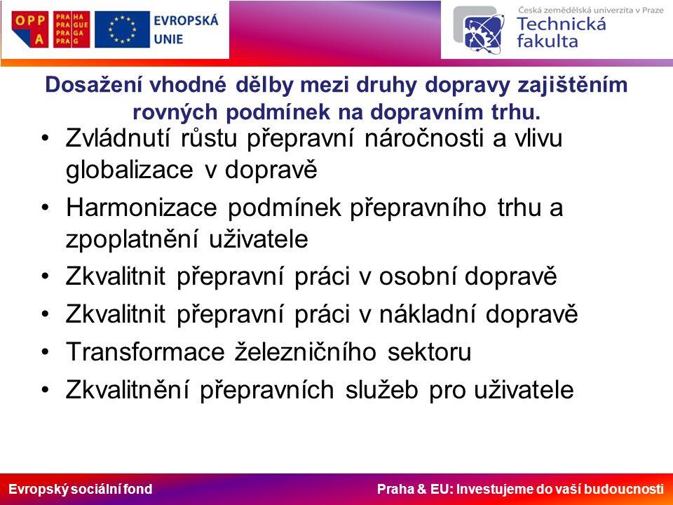 Evropský sociální fond Praha & EU: Investujeme do vaší budoucnosti Dosažení vhodné dělby mezi druhy dopravy zajištěním rovných podmínek na dopravním trhu.