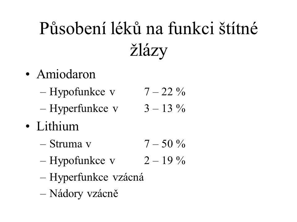 Působení léků na funkci štítné žlázy Amiodaron –Hypofunkce v 7 – 22 % –Hyperfunkce v 3 – 13 % Lithium –Struma v 7 – 50 % –Hypofunkce v 2 – 19 % –Hyperfunkce vzácná –Nádory vzácně