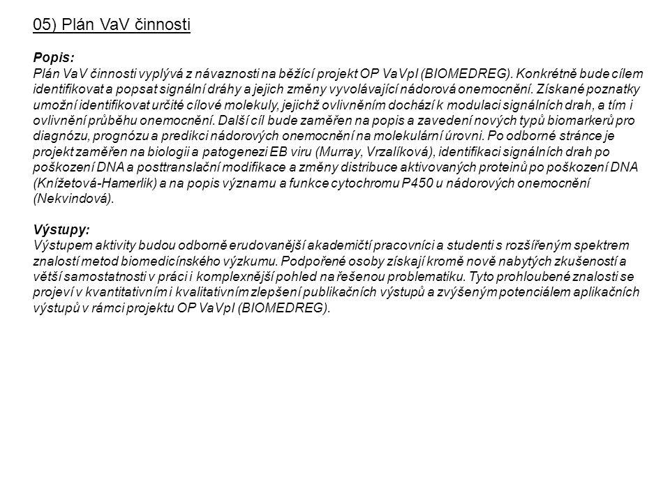 05) Plán VaV činnosti Popis: Plán VaV činnosti vyplývá z návaznosti na běžící projekt OP VaVpI (BIOMEDREG).