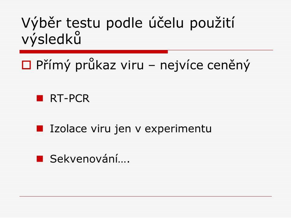 Výběr testu podle účelu použití výsledků  Přímý průkaz viru – nejvíce ceněný RT-PCR Izolace viru jen v experimentu Sekvenování….