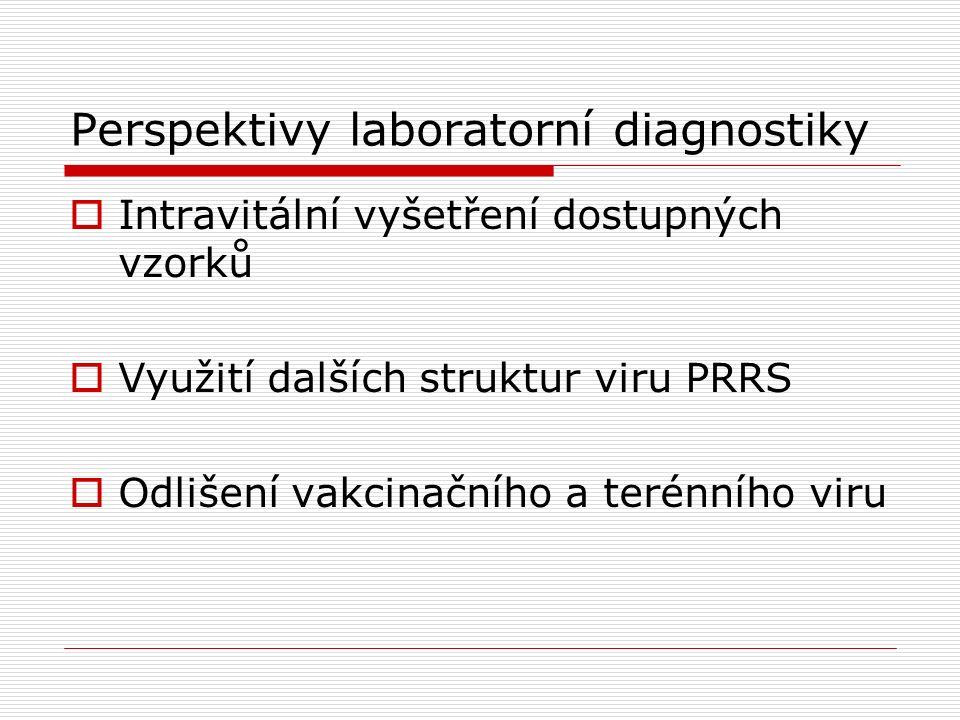 Perspektivy laboratorní diagnostiky  Intravitální vyšetření dostupných vzorků  Využití dalších struktur viru PRRS  Odlišení vakcinačního a terénníh