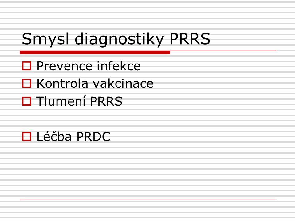 Smysl diagnostiky PRRS  Prevence infekce  Kontrola vakcinace  Tlumení PRRS  Léčba PRDC