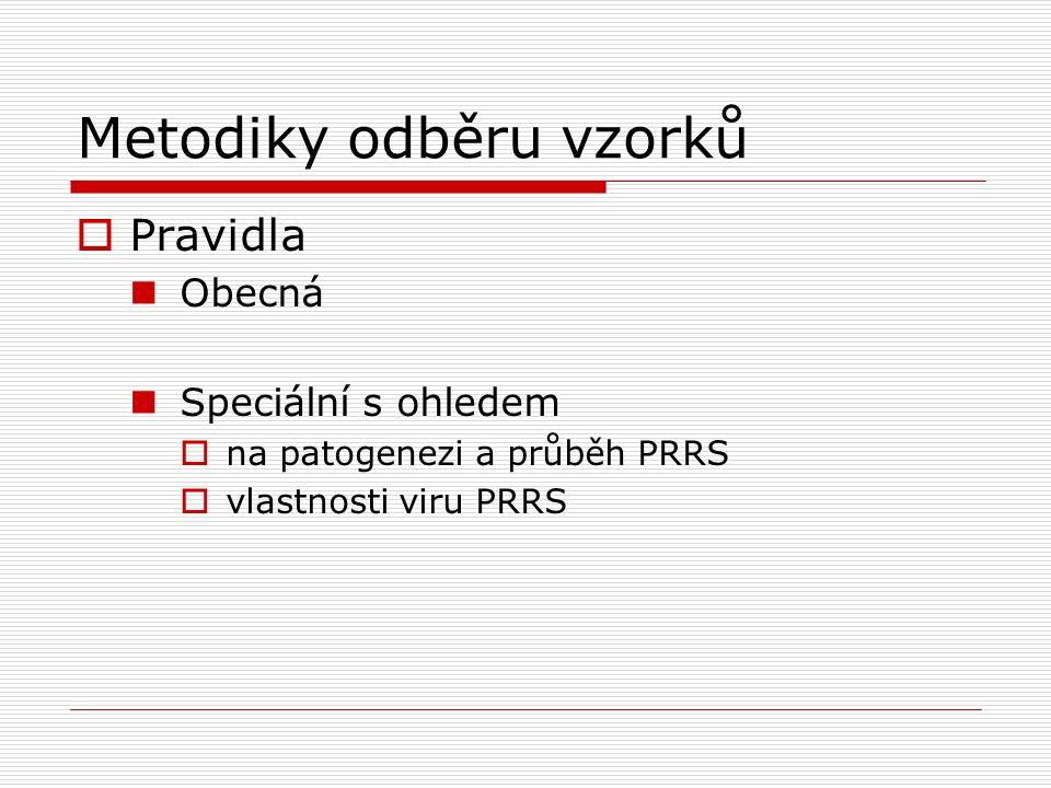 Metodiky odběru vzorků  Pravidla Obecná Speciální s ohledem  na patogenezi a průběh PRRS  vlastnosti viru PRRS