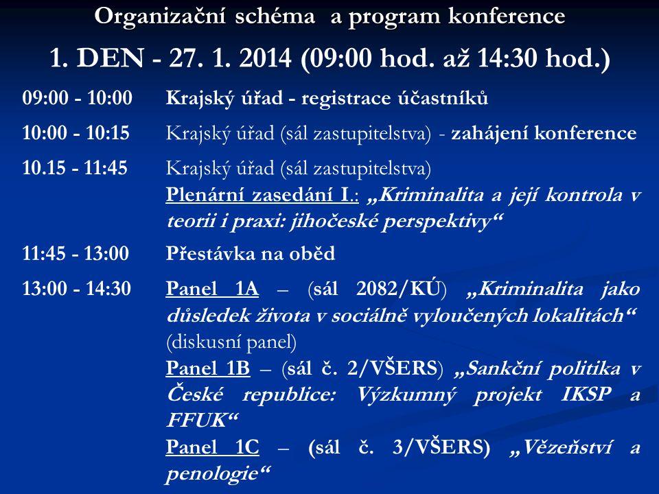 Organizační schéma a program konference 1. DEN - 27. 1. 2014 (09:00 hod. až 14:30 hod.) 09:00 - 10:00Krajský úřad - registrace účastníků 10:00 - 10:15