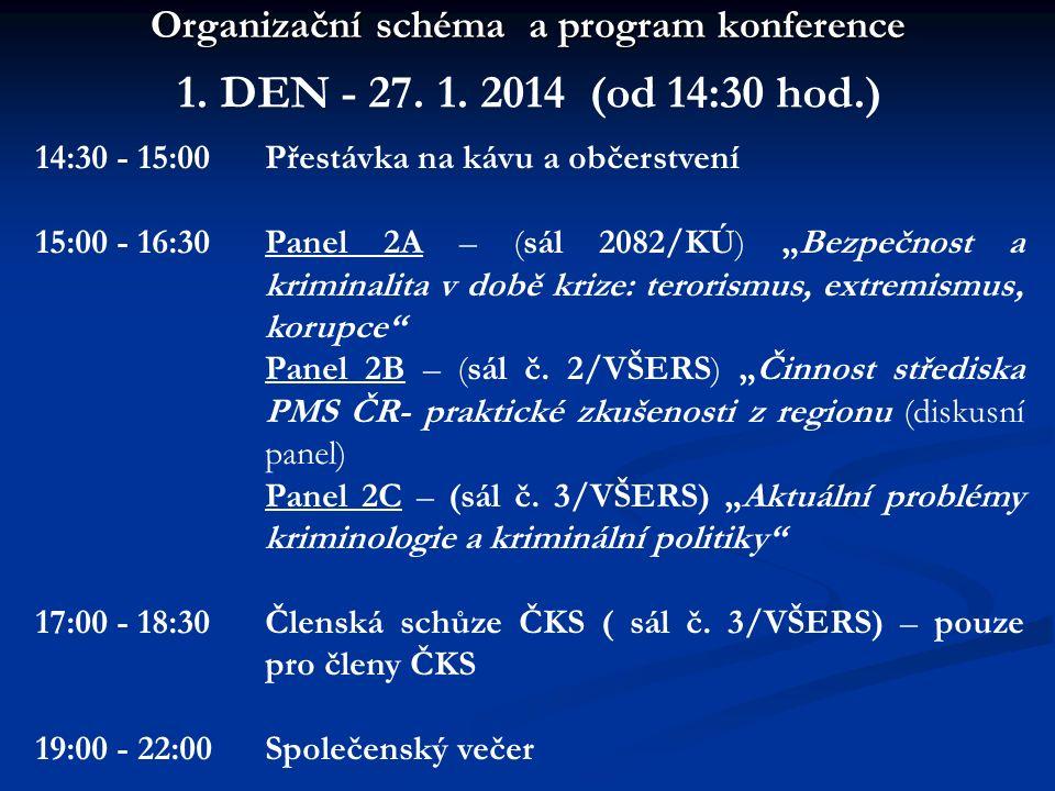 Organizační schéma a program konference 1. DEN - 27. 1. 2014 (od 14:30 hod.) 14:30 - 15:00 15:00 - 16:30 17:00 - 18:30 19:00 - 22:00 Přestávka na kávu