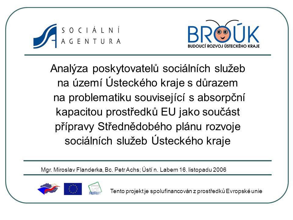 Analýza poskytovatelů sociálních služeb na území Ústeckého kraje s důrazem na problematiku související s absorpční kapacitou prostředků EU jako součást přípravy Střednědobého plánu rozvoje sociálních služeb Ústeckého kraje Tento projekt je spolufinancován z prostředků Evropské unie Mgr.