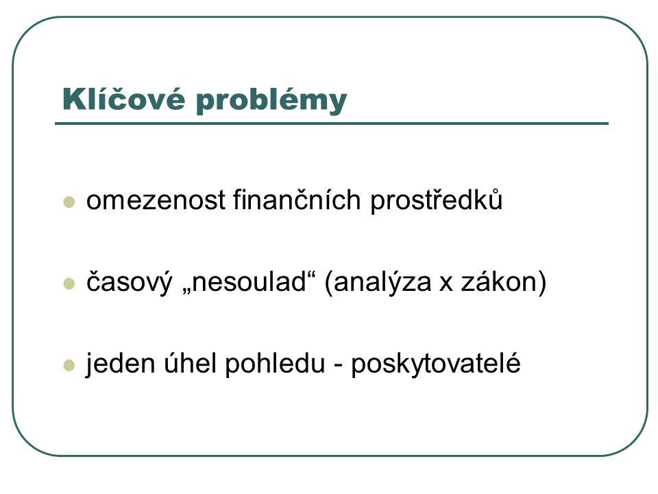 """Klíčové problémy omezenost finančních prostředků časový """"nesoulad"""" (analýza x zákon) jeden úhel pohledu - poskytovatelé"""