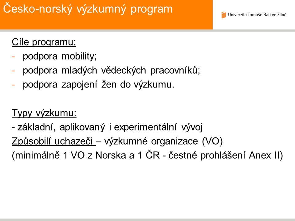 Česko-norský výzkumný program Cíle programu: -podpora mobility; -podpora mladých vědeckých pracovníků; -podpora zapojení žen do výzkumu. Typy výzkumu: