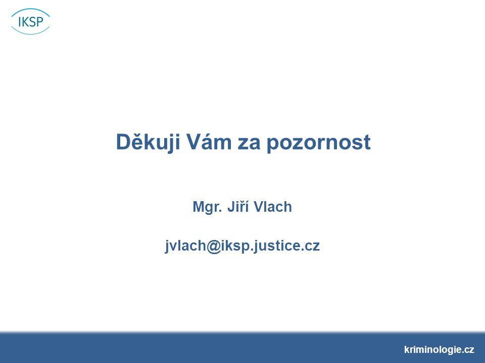 Děkuji Vám za pozornost Mgr. Jiří Vlach jvlach@iksp.justice.cz kriminologie.cz