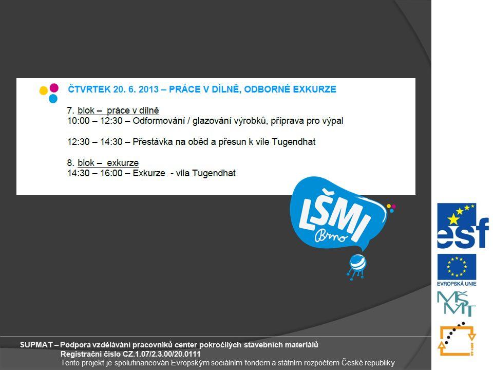 11 SUPMAT – Podpora vzdělávání pracovníků center pokročilých stavebních materiálů Registrační číslo CZ.1.07/2.3.00/20.0111 Tento projekt je spolufinancován Evropským sociálním fondem a státním rozpočtem České republiky