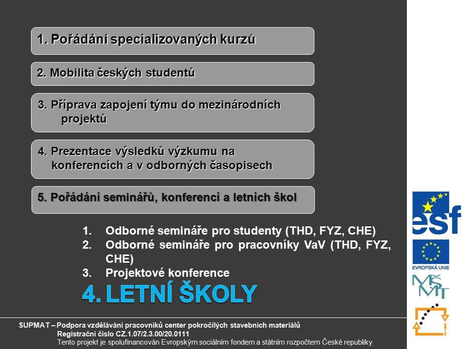 6 1. Pořádání specializovaných kurzů 2. Mobilita českých studentů 3.