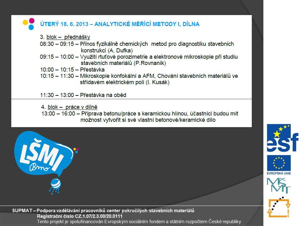 9 SUPMAT – Podpora vzdělávání pracovníků center pokročilých stavebních materiálů Registrační číslo CZ.1.07/2.3.00/20.0111 Tento projekt je spolufinancován Evropským sociálním fondem a státním rozpočtem České republiky