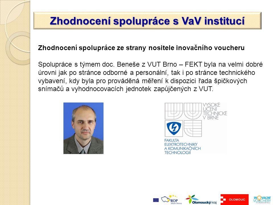 Zhodnocení spolupráce s VaV institucí Zhodnocení spolupráce ze strany nositele inovačního voucheru Spolupráce s týmem doc.