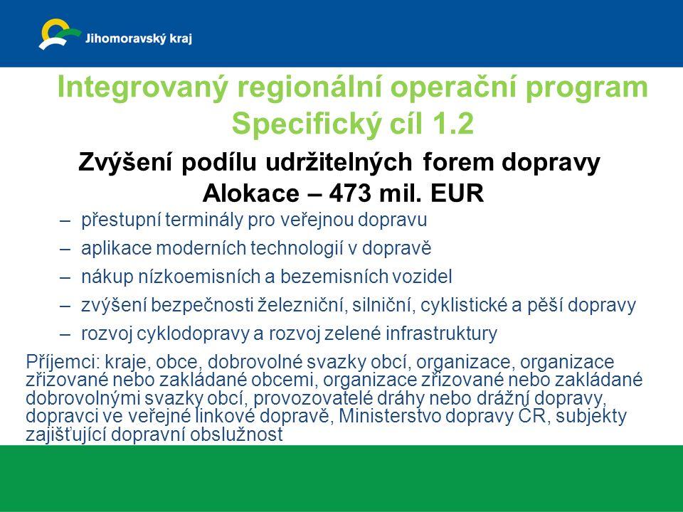Podmínky: –projekt je v souladu s Dopravní politikou ČR 2014-2020; –projekt ve městě nad 150 tis.