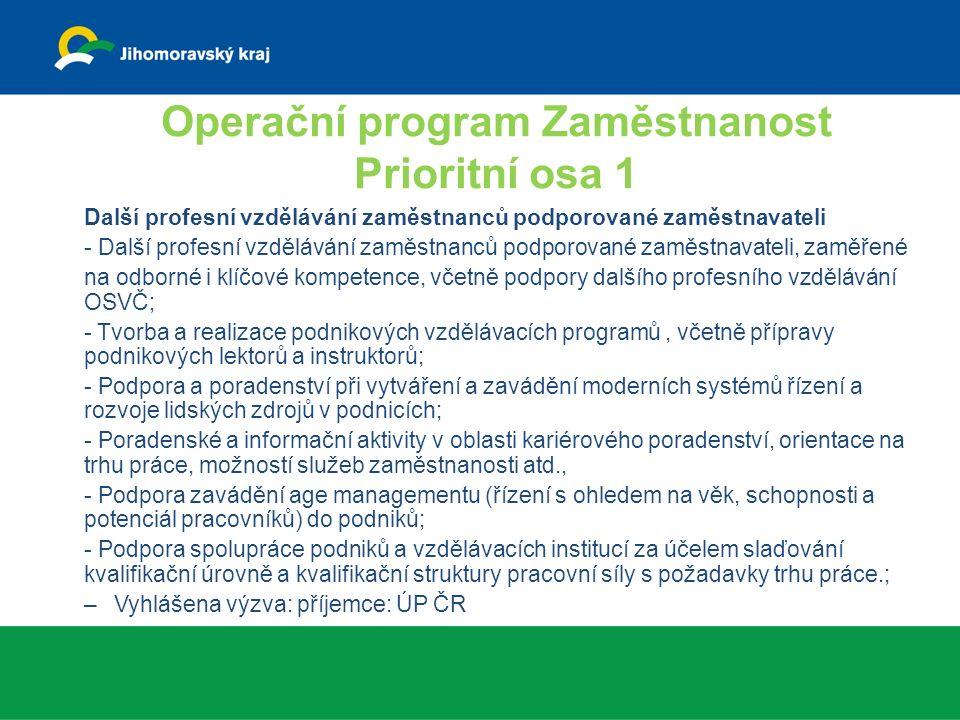 Operační program Zaměstnanost Prioritní osa 1 Další profesní vzdělávání zaměstnanců podporované zaměstnavateli - Další profesní vzdělávání zaměstnanců podporované zaměstnavateli, zaměřené na odborné i klíčové kompetence, včetně podpory dalšího profesního vzdělávání OSVČ; - Tvorba a realizace podnikových vzdělávacích programů, včetně přípravy podnikových lektorů a instruktorů; - Podpora a poradenství při vytváření a zavádění moderních systémů řízení a rozvoje lidských zdrojů v podnicích; - Poradenské a informační aktivity v oblasti kariérového poradenství, orientace na trhu práce, možností služeb zaměstnanosti atd., - Podpora zavádění age managementu (řízení s ohledem na věk, schopnosti a potenciál pracovníků) do podniků; - Podpora spolupráce podniků a vzdělávacích institucí za účelem slaďování kvalifikační úrovně a kvalifikační struktury pracovní síly s požadavky trhu práce.; –Vyhlášena výzva: příjemce: ÚP ČR