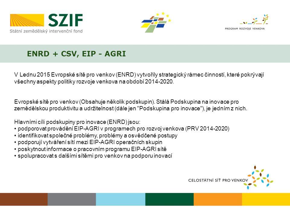 ENRD + CSV, EIP - AGRI V Lednu 2015 Evropské sítě pro venkov (ENRD) vytvořily strategický rámec činností, které pokrývají všechny aspekty politiky roz