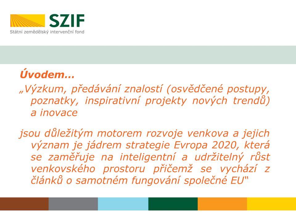 """Úvodem… """"Výzkum, předávání znalostí (osvědčené postupy, poznatky, inspirativní projekty nových trendů) a inovace jsou důležitým motorem rozvoje venkov"""
