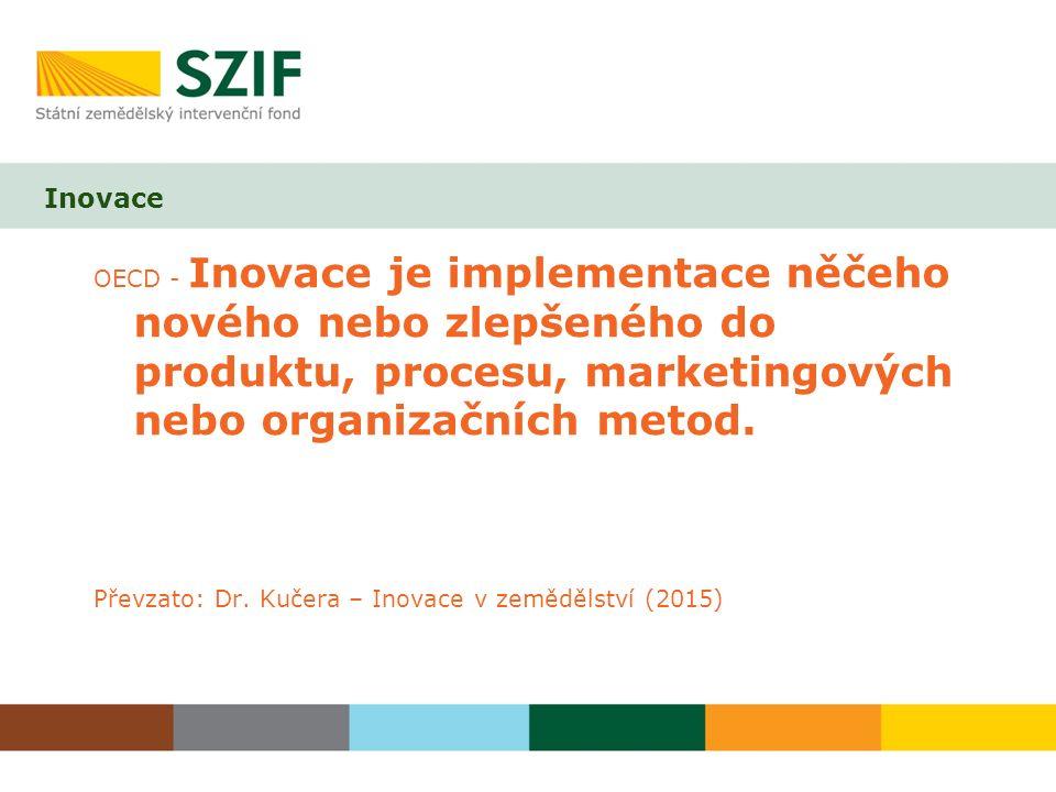 Inovace OECD - Inovace je implementace něčeho nového nebo zlepšeného do produktu, procesu, marketingových nebo organizačních metod. Převzato: Dr. Kuče