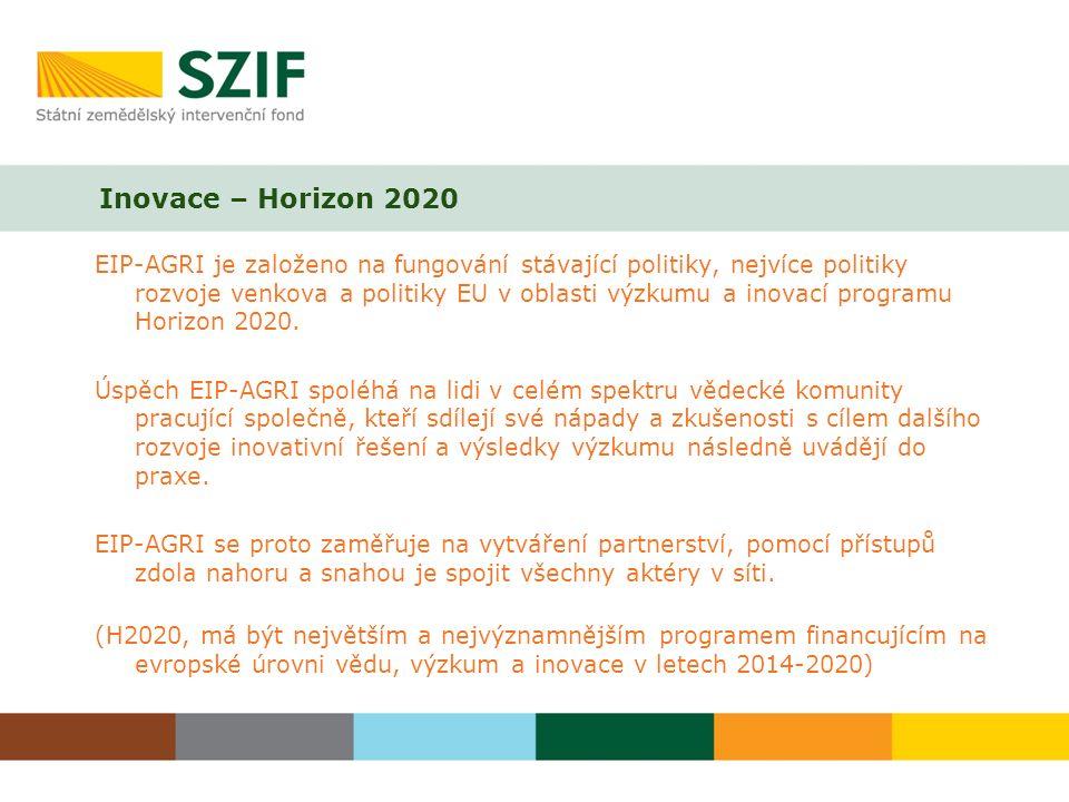 Inovace – Horizon 2020 EIP-AGRI je založeno na fungování stávající politiky, nejvíce politiky rozvoje venkova a politiky EU v oblasti výzkumu a inovac