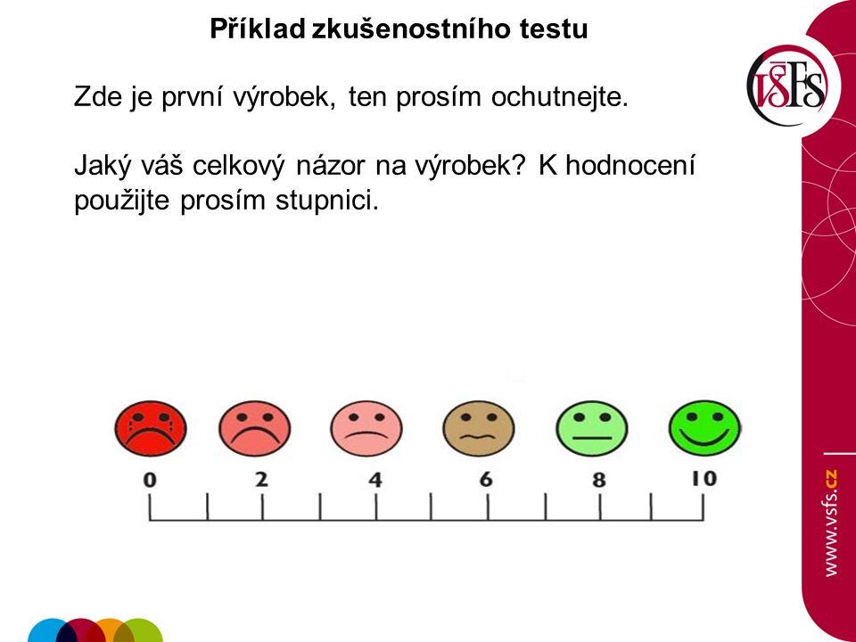 Příklad zkušenostního testu Zde je první výrobek, ten prosím ochutnejte.