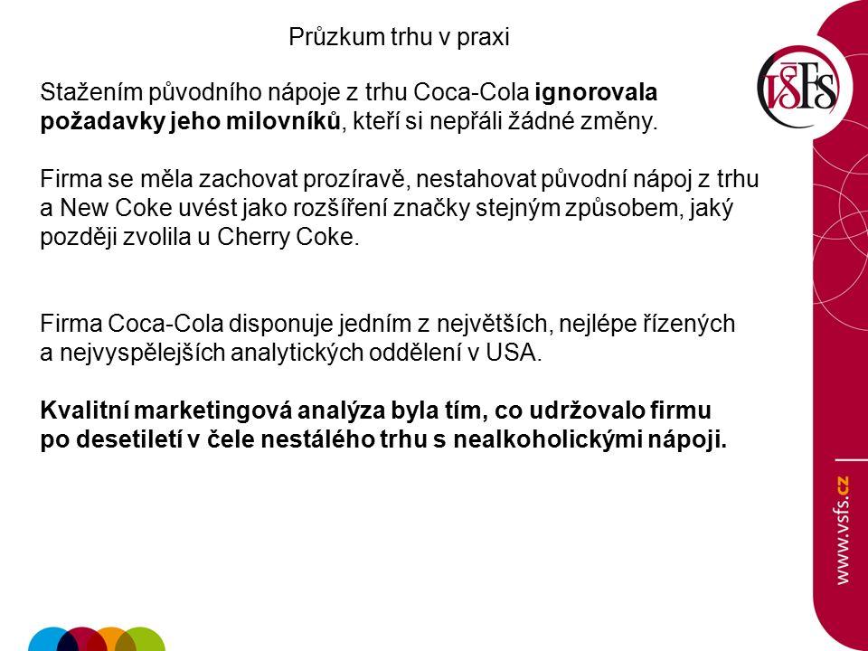 Průzkum trhu v praxi Stažením původního nápoje z trhu Coca-Cola ignorovala požadavky jeho milovníků, kteří si nepřáli žádné změny.