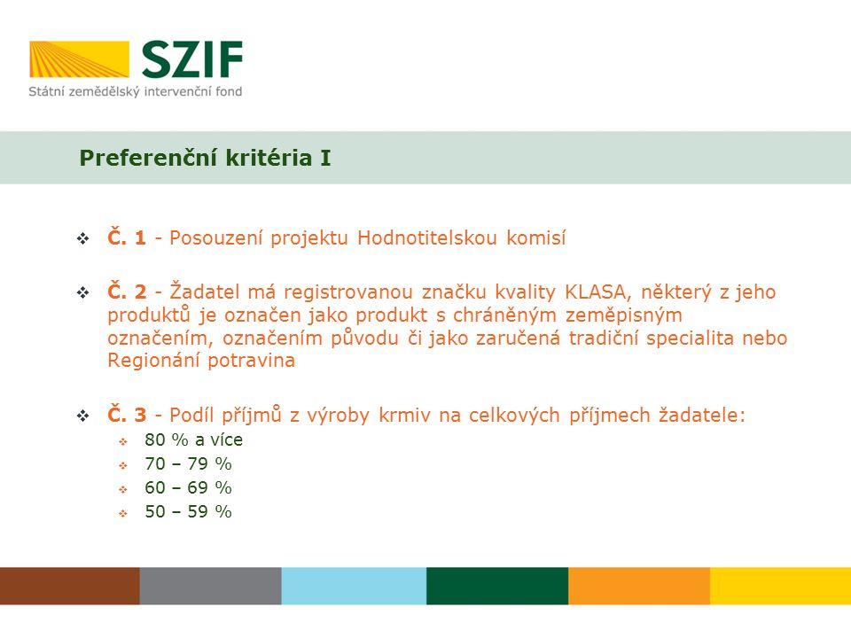 Preferenční kritéria I  Č. 1 - Posouzení projektu Hodnotitelskou komisí  Č.