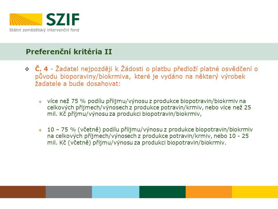 Preferenční kritéria II  Č.