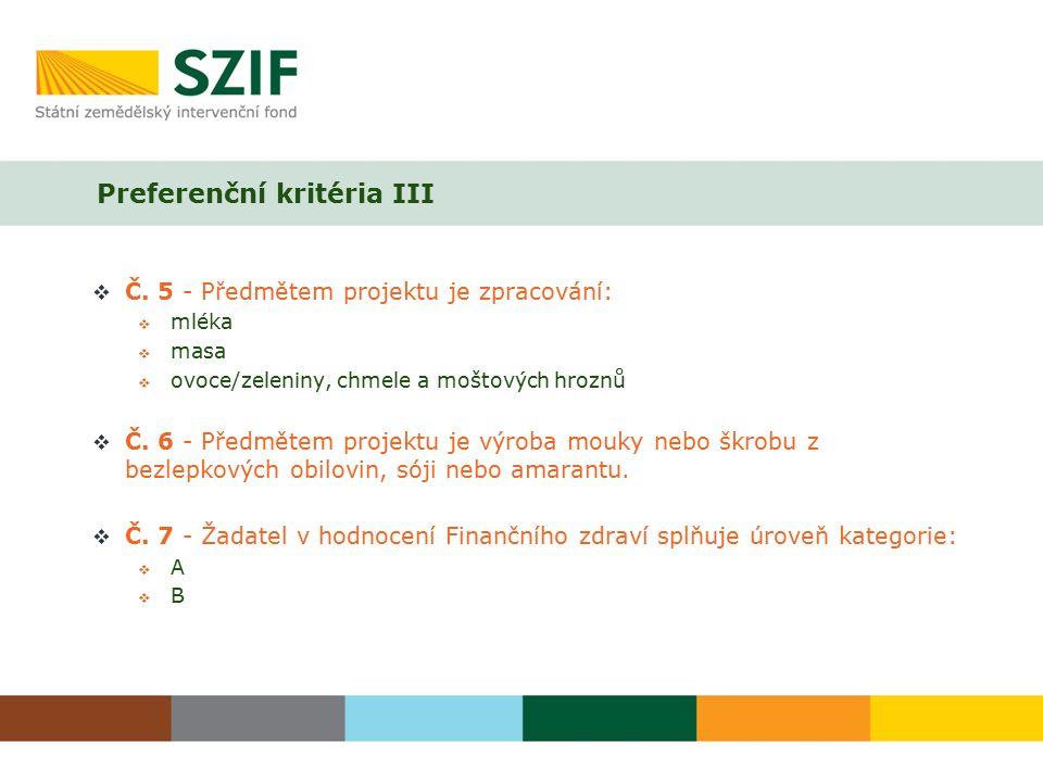 Preferenční kritéria III  Č.