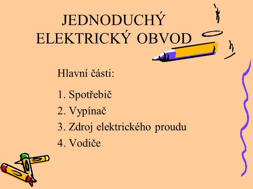 JEDNODUCHÝ ELEKTRICKÝ OBVOD Hlavní části: 1. Spotřebič 2. Vypínač 3. Zdroj elektrického proudu 4. Vodiče