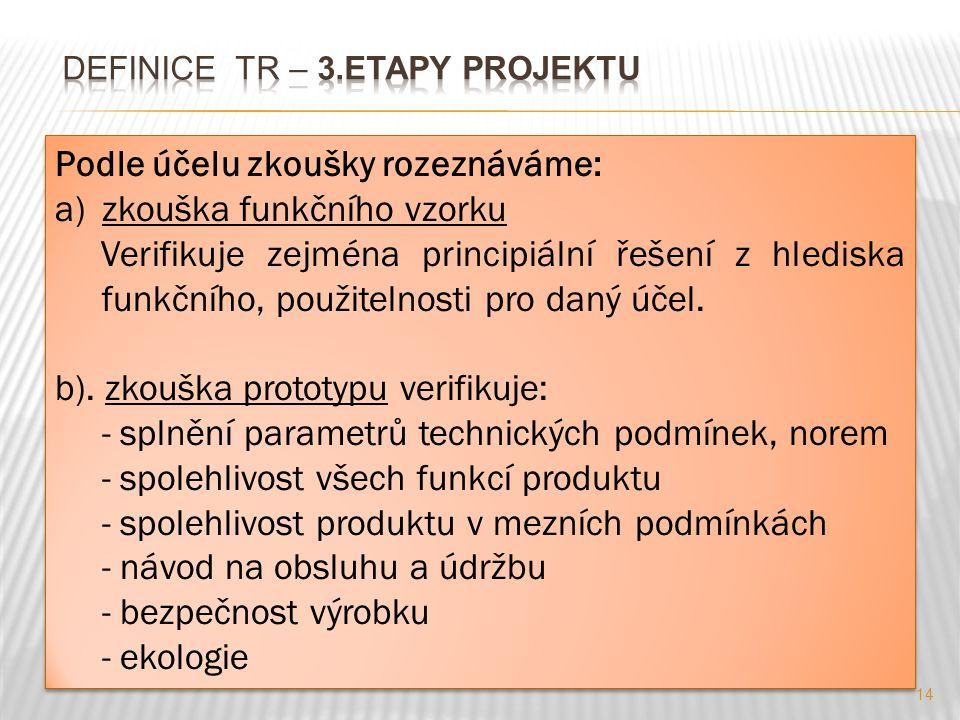 14 Podle účelu zkoušky rozeznáváme: a)zkouška funkčního vzorku Verifikuje zejména principiální řešení z hlediska funkčního, použitelnosti pro daný účel.