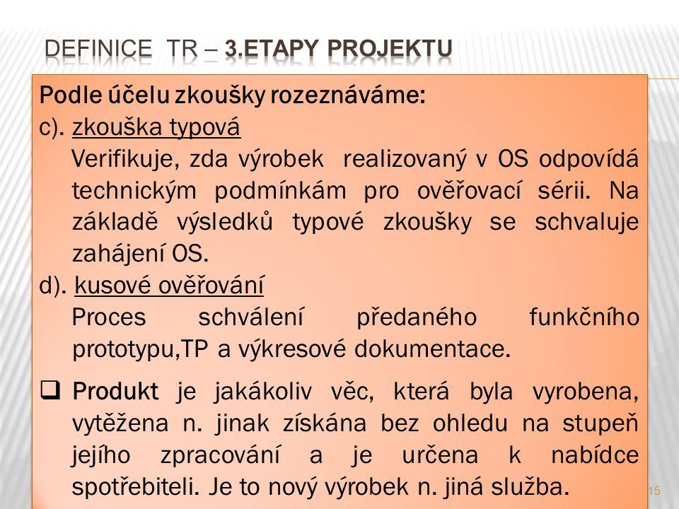 15 Podle účelu zkoušky rozeznáváme: c). zkouška typová Verifikuje, zda výrobek realizovaný v OS odpovídá technickým podmínkám pro ověřovací sérii. Na