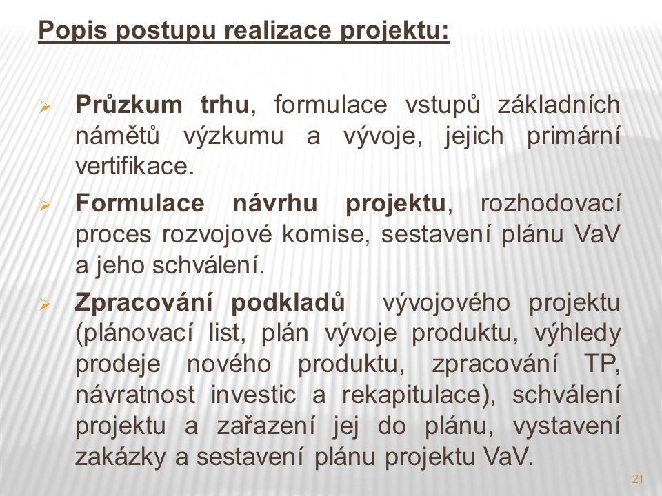 21 Popis postupu realizace projektu:  Průzkum trhu, formulace vstupů základních námětů výzkumu a vývoje, jejich primární vertifikace.  Formulace náv
