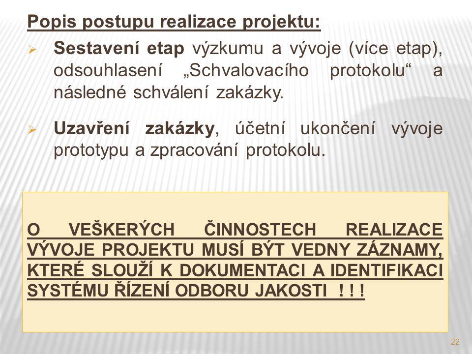 """22 Popis postupu realizace projektu:  Sestavení etap výzkumu a vývoje (více etap), odsouhlasení """"Schvalovacího protokolu"""" a následné schválení zakázk"""