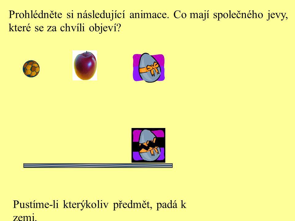 Prohlédněte si následující animace. Co mají společného jevy, které se za chvíli objeví? Pustíme-li kterýkoliv předmět, padá k zemi.