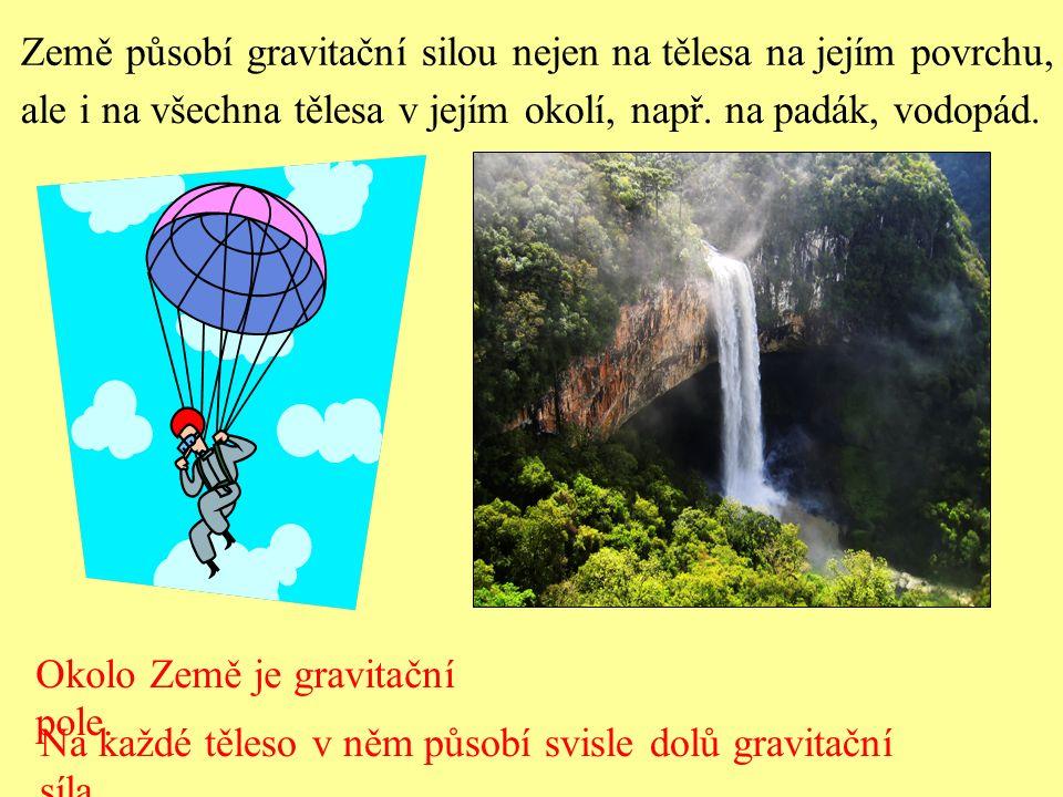 Země působí gravitační silou nejen na tělesa na jejím povrchu, ale i na všechna tělesa v jejím okolí, např. na padák, vodopád. Okolo Země je gravitačn