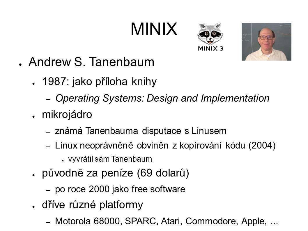 MINIX ● Andrew S. Tanenbaum ● 1987: jako příloha knihy – Operating Systems: Design and Implementation ● mikrojádro – známá Tanenbauma disputace s Linu