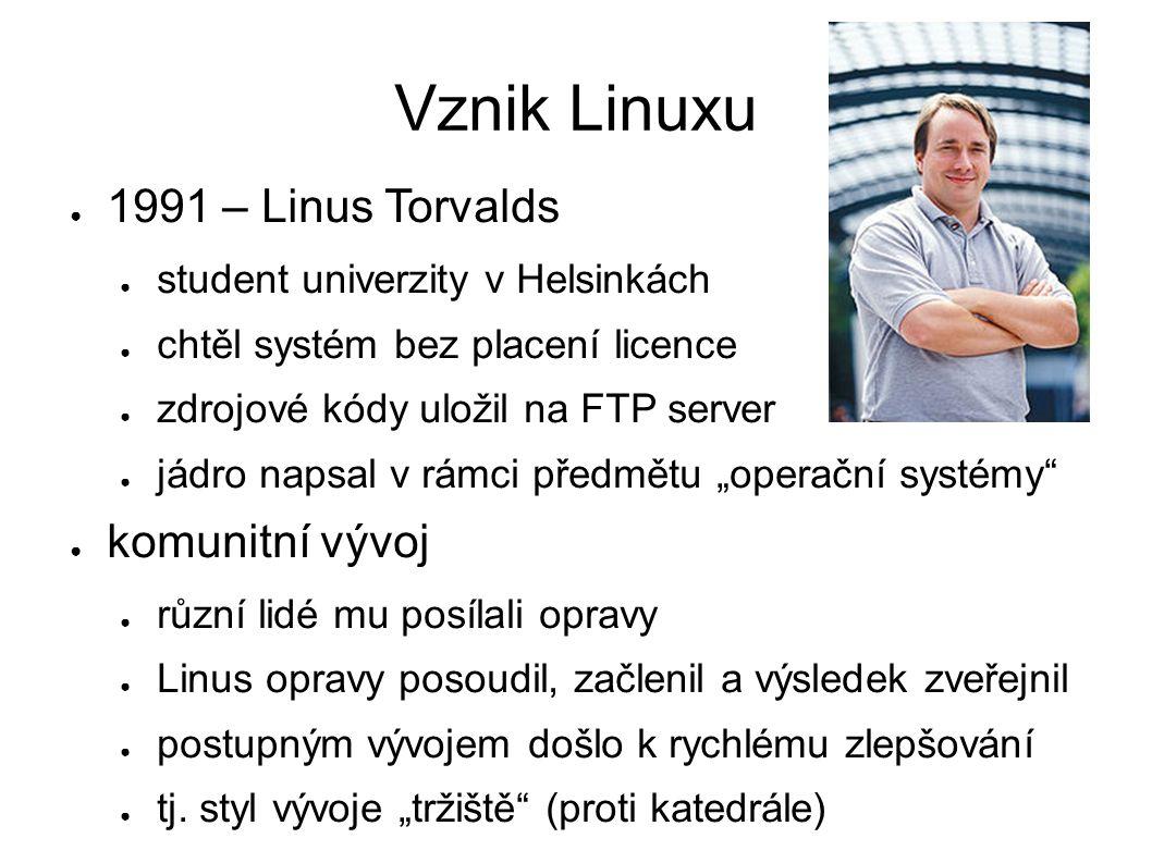 Vznik Linuxu ● 1991 – Linus Torvalds ● student univerzity v Helsinkách ● chtěl systém bez placení licence ● zdrojové kódy uložil na FTP server ● jádro