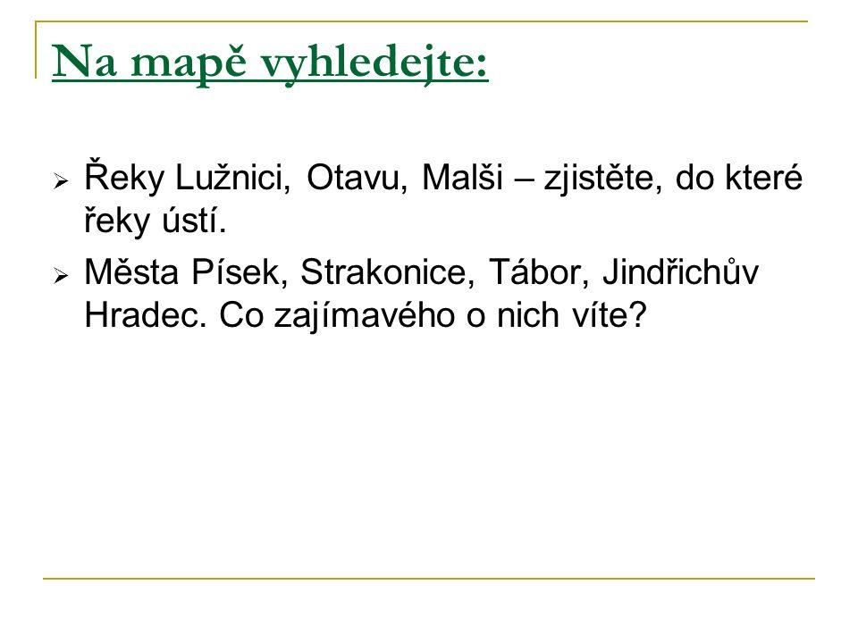 Přesmyčky Poznej velká města jihočeského kraje.