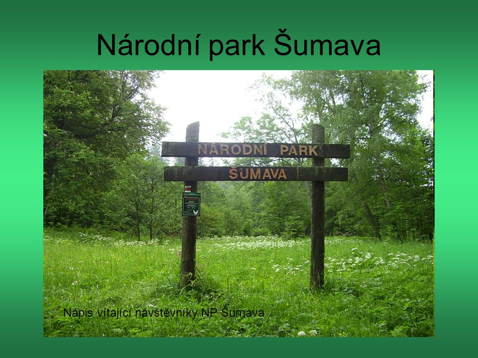 Národní park Šumava Nápis vítající návštěvníky NP Šumava
