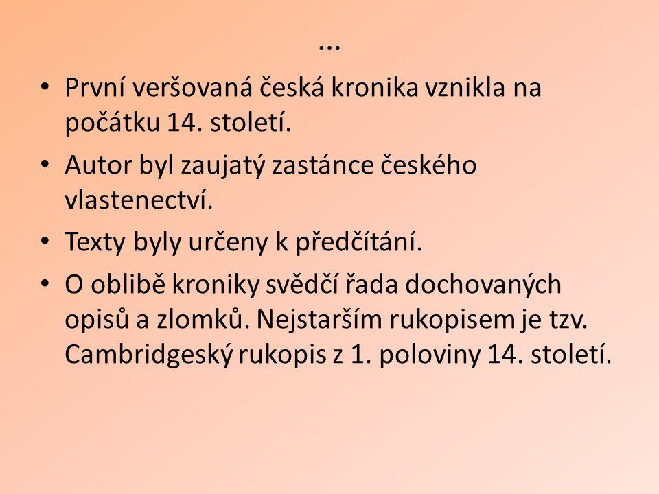 … První veršovaná česká kronika vznikla na počátku 14.