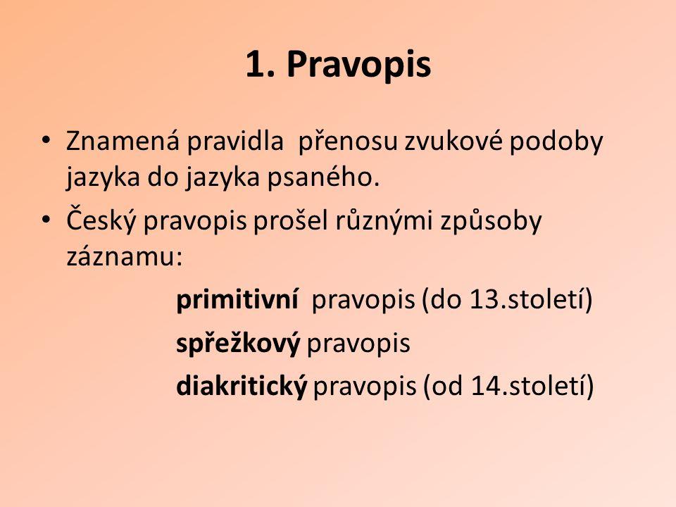 1. Pravopis Znamená pravidla přenosu zvukové podoby jazyka do jazyka psaného. Český pravopis prošel různými způsoby záznamu: primitivní pravopis (do 1