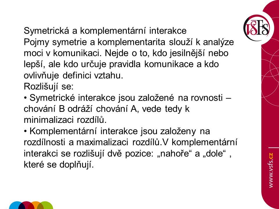 Symetrická a komplementární interakce Pojmy symetrie a komplementarita slouží k analýze moci v komunikaci.
