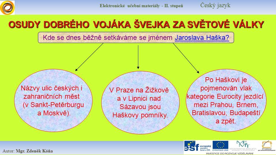 Elektronické učební materiály - II. stupeň Český jazyk Autor: Mgr. Zdeněk Kóňa Názvy ulic českých i zahraničních měst (v Sankt-Petěrburgu a Moskvě). O