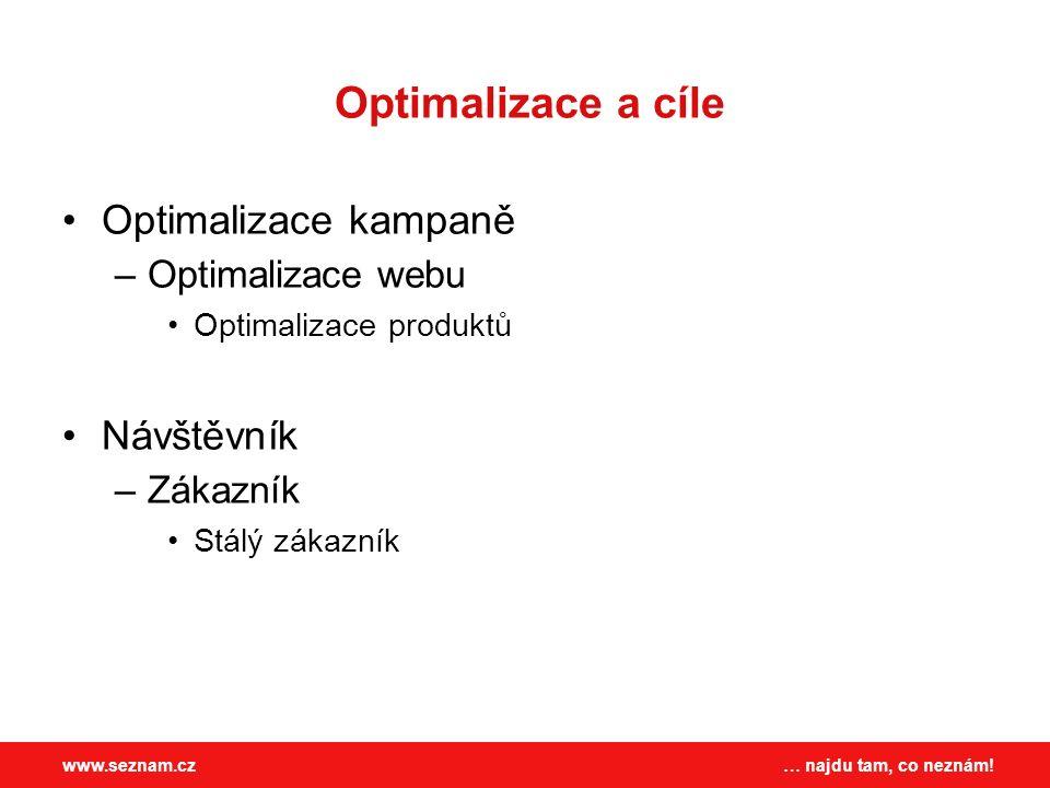 … najdu tam, co neznám!www.seznam.cz Optimalizace a cíle Optimalizace kampaně –Optimalizace webu Optimalizace produktů Návštěvník –Zákazník Stálý zákazník